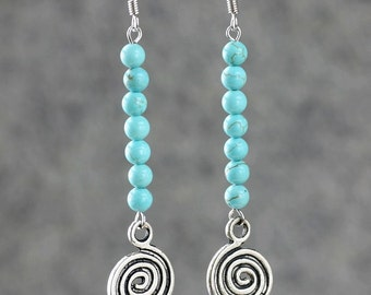 5.99-9.99 dollars Turquosie earrings linear long drop dangle scroll Bridesmaids gifts Free US Shipping handmade Anni designs