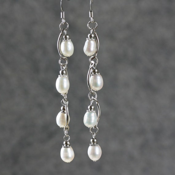 Pearl wavy dangling long linear earrings Bridesmaid gifts Free US Shipping handmade Anni designs