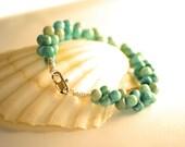 Howlite Turquoise Bracelet, Blue Green Bracelet, Handmade Bracelet
