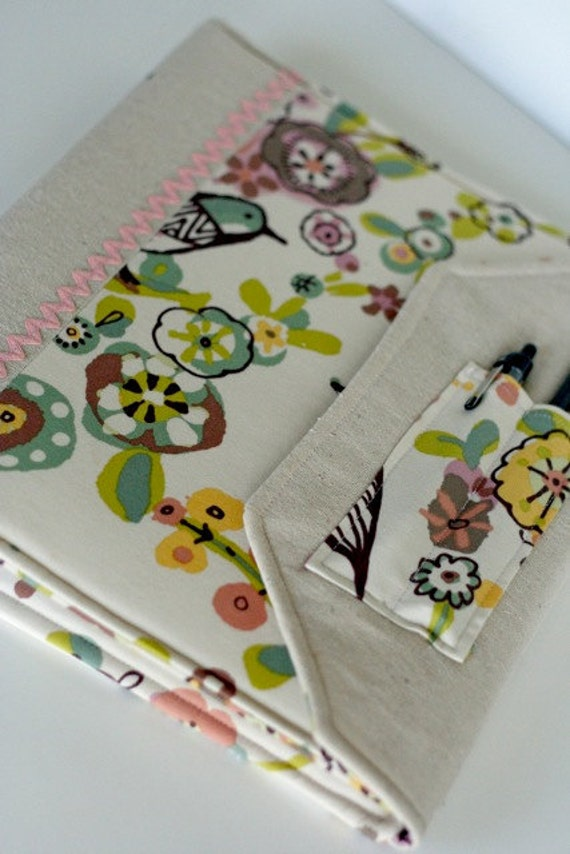 Notebook Slipcover Fabric Covered Binder Abstract Birds and Flowers
