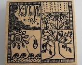Four Seasons Mounted Rubber Stamp Funky Woodcarved Look