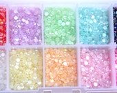 25 Mixed Sample Lot of Round Pearly Rhinestone Flat Back 3mm