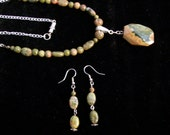 Large Jasper Stone Pendant Necklace and Earring Set