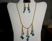 Gold & Blue Necklace and Earrings Set