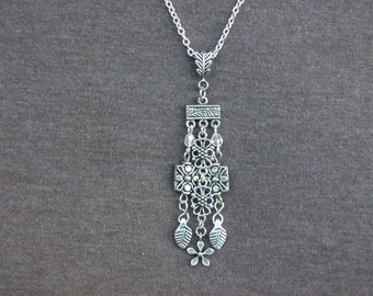Silver Flower Charms and Crystals Pendant Necklace