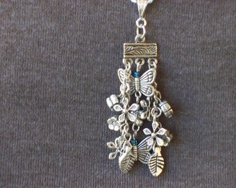 Butterfly and Flower Pendant Necklace