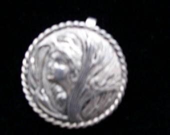 Vintage Art Nouveau Sterling Silver Cameo Pendant