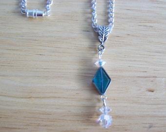 Aqua and Vintage Crystal Pendant Necklace