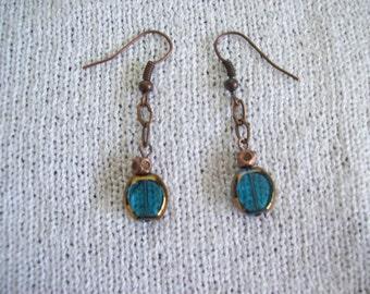 Copper & Aqua Dangle Earrings