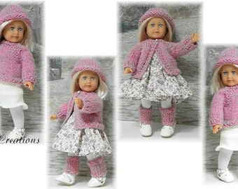 Knit Sweater, Hat and Leg Warmers for the 6 inch American Girl Dolls Sent PDF Format
