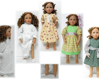 "Dress, Nightgown & Slippers Pattern for Sonja Hartmann Kidz N' Cats 18"" Dolls Sent PDF Format"
