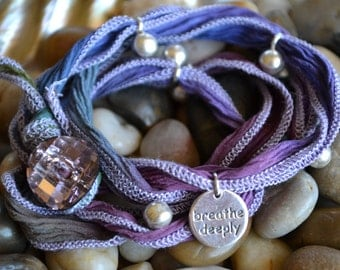 SALE! Hand Dyed Silk Yoga Bracelet with Sterling Silver Accents (Vintage Purple)