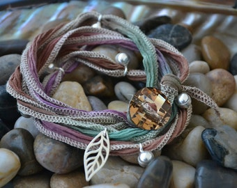 SALE! Hand Dyed Silk Yoga Bracelet with Sterling Silver Accents (Tucson Desert)
