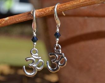 Swarovski Crystal Silver Om Earrings (Navy Blue)