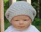 Baby Boy/Girl Hat--Light Dove Grey/Gray Newborn Baby Boy/Girl Slouchy Beret Beanie