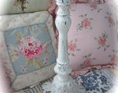 TREASURY ITEM Shabby Old Antique Tall Big Cast Iron ORNATE Distressed Candle Holder Chic