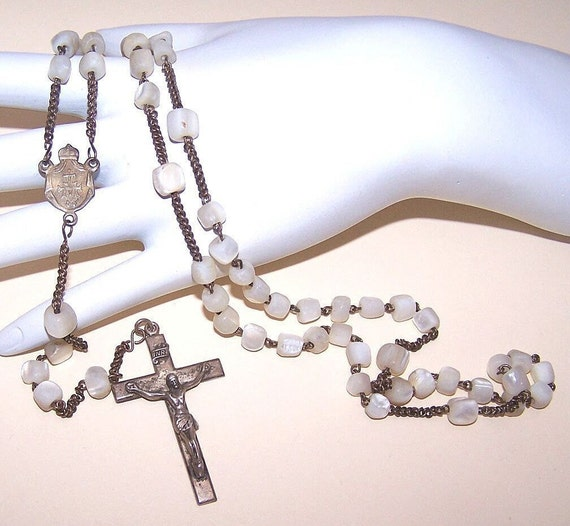 Vintage FRENCH Mother of Pearl and 800/900 Silver Rosary......