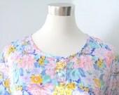 Sale Vintage Lingerie Set - Satin Pajama Shorts -  Pastel Floral - 1980s - Medium