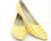 Vintage Yellow Pumps - 1980s Size 9 10 Naturalizer - Croc Heels