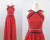 Vintage Party Dress - 1960s - 4th of July - Polka Dotted - Small
