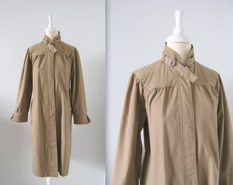 Sale Vintage 1970s Smocked Trench Coat in Khaki Taupe - Small Medium