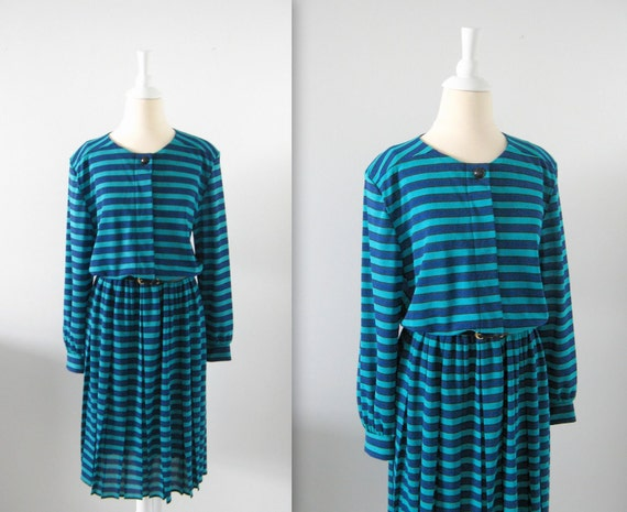 On Sale Vintage 1980s Nautical Stripe Day Dress in Teal and Navy - xLarge