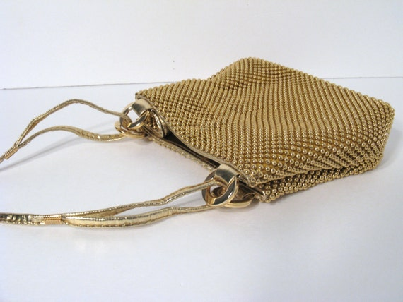 Vintage Beaded Purse - 1970s - Gold Mesh with Long Strap