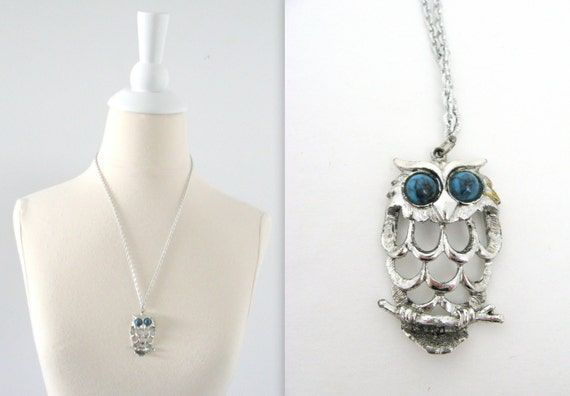 On Sale Vintage Owl Pendant Necklace - 1970s Silver and Turquoise - Long Chain