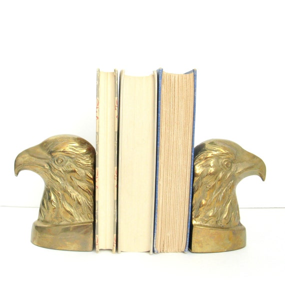Vintage Brass Bookends - Birds American Eagle - Back to School