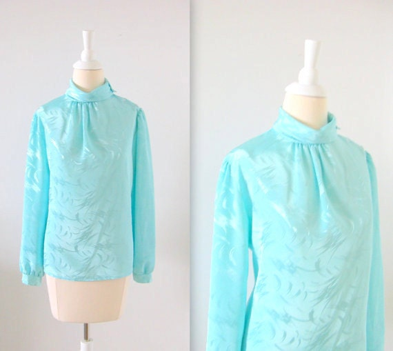 On Sale Vintage 1970s Mint Blue Satin Blouse w/ Funnel Neck - Small Medium