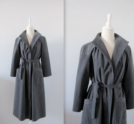 On Sale Vintage 1970s Wrap Trench Coat in Charcoal Grey Faux Suede -  Large xLarge by Private Editions