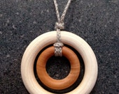 Natural Wood Teething necklace / Nursing Necklace on braided Organic Flax Hemp (Adjustable) - Birch and Maple Wooden Rings