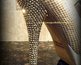 Swarovski Crystal - STUNNING Gold Snake Skin Platform Shoes - Size 7 - New Years - Wedding - Prom - REDUCED PRICE Was 125 Now 100