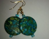 Mosiac Green and Blue Earrings