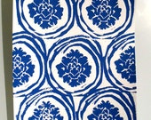Wallpaper inspired art in Blue - Hand Pulled Lino Cut Design