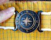 1950s Mustard Swim Trunks / Nautical Compass Shorts Size Small Medium