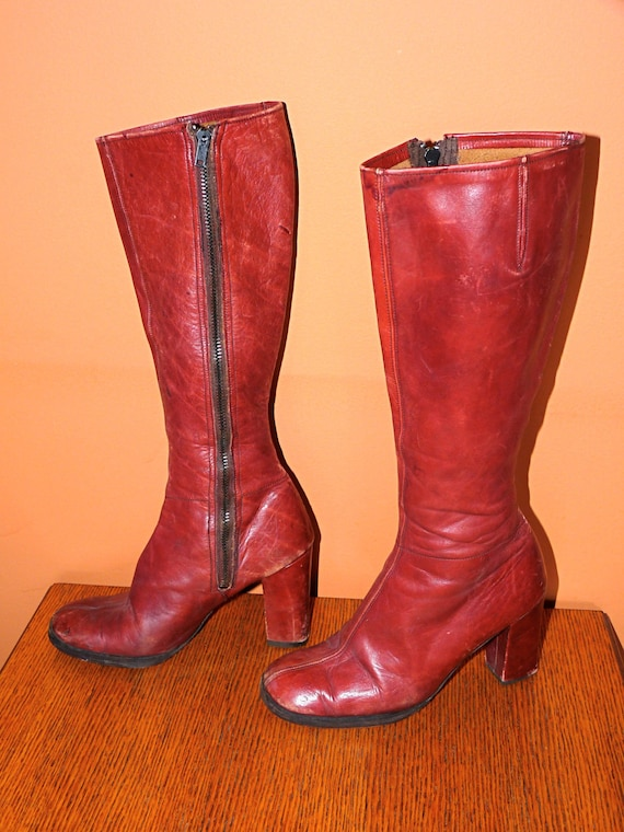 1960s Oxblood Zip up Leather Knee High Go Go Boots Size 7