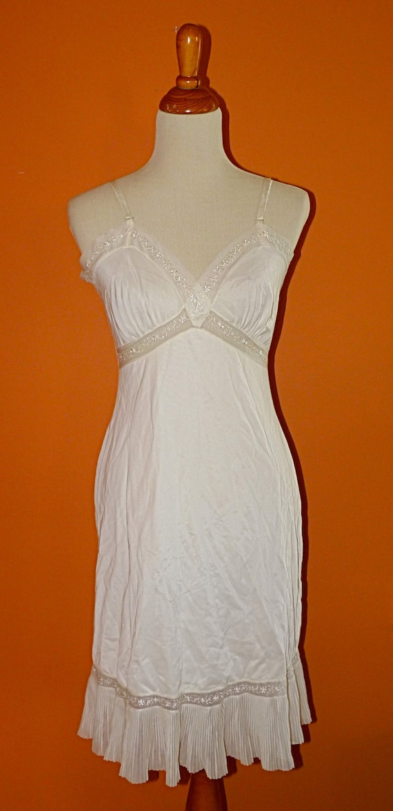 1960s Ivory Nylon Slip Dress Size 36 Medium Fall Weddings