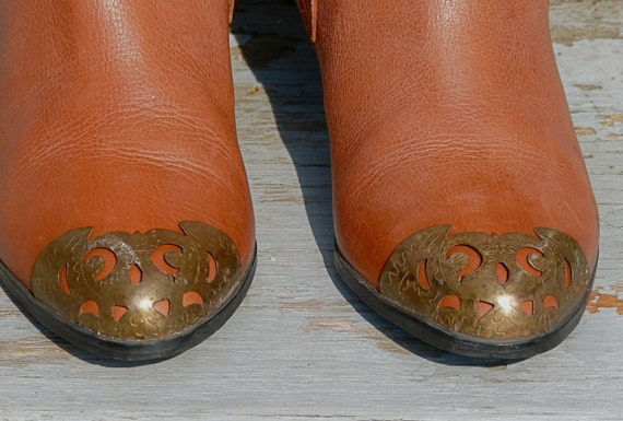 1970s Bellini Brazilian Leather Gypsy Boots in Toffee / Size 7.5 with Stylized Brass Toe Cage RESERVED for atv0973