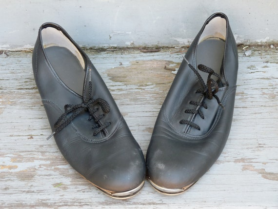 Black Leather Stevens Stompers / Lace Up Tap Shoes Size 7