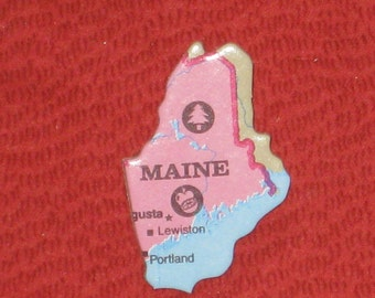 Maine Brooch Pin Back Upcycled Puzzle Piece Lapel Hat Pin Gift Under 5