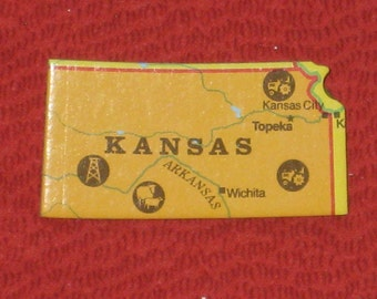 Kansas State Map Brooch Upcycled Puzzle Piece Pin Back Hat Pin Gift Under 5