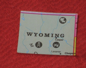 Wyoming Hat Pin Map Puzzle Piece Recycled Upcycled State Souvenir Gift Under 5