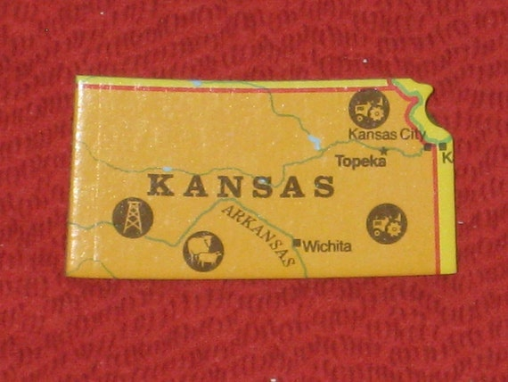 Kansas State Brooch Upcycled Puzzle Piece Pin Back Hat Pin Gift Under 5