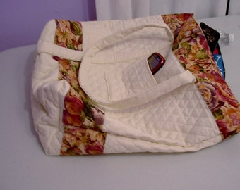 Ivory quilted tote bag, large book bag, purse