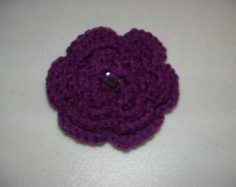 Handmade crocheted, flowered hair comb in dark purple