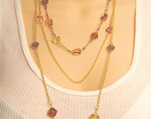 Triple Chain Autumn Necklace - Three Chain Necklace with Gold Chain and Fall Colored Beads