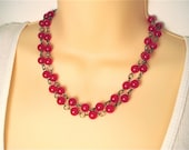 Long Red Beaded Necklace - Warm Red Beads on Long Chain, Can Be Doubled Into Double Strand Beaded Chain