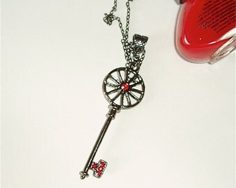 Skeleton Key Long Necklace - Long Gunmetal Chain Necklace Featuring Large Black Key with Ruby Red Swarovski Style Accents