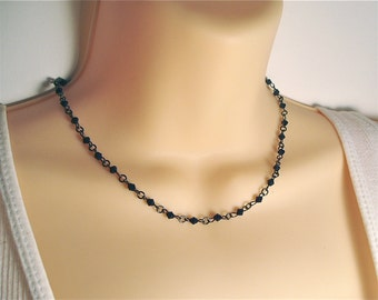 Simple Black Beaded Choker - Delicate Small Black Bicone Beads in Feminine Choker Necklace